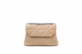 87230 Nude Quilted Chain Strap Shoulder Bag