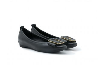886-1 Black Vintage Belted Buckle Square Toe Flats