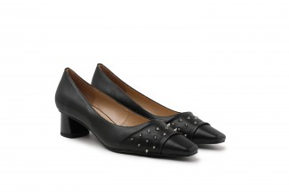 1902-10 Black Studs Embellished Square Toe Leather Block Heels
