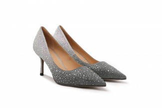 2005-06 Pewter Glittering Diamante Ombre Leather Heels