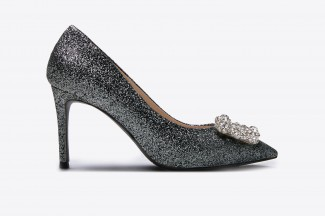 e9b78bf572ab9f 6162-16A Black Sparkly Embellished Front Heels