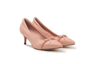 917-1 Pink Studded Ribbon Pointed Leather Heels