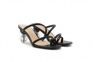 LT536-6 Black Strappy Ornate Heel Slide Sandals