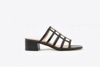 YD734-2 Black Caged Leather Sandals