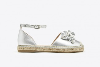 1582-25 Silver Floral Crystal Cap Leather Espadrille Sandals