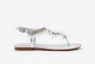 25f1eba844f 1833-8 Silver Embellished T-strap Sandals