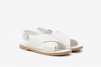 1857-201 White Criss-cross Strap Leather Sandals