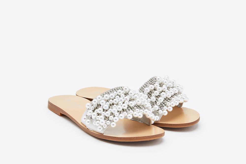 Embellished Silver Sandals 6 2639 Pearl c3lu5FK1TJ