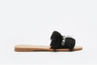 3075-13 Black Fringe Slide Sandals