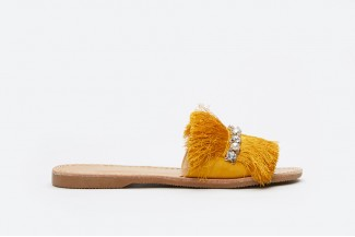 3075-13 Yellow Fringe Slide Sandals