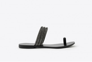 3088-59 Pewter Diamante Stud Toe Strappy Slide Sandals