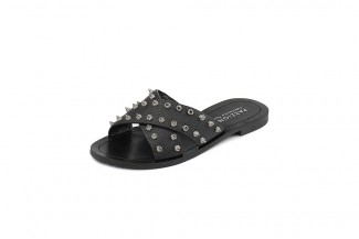 444-14 Black Studded Leather Sandals