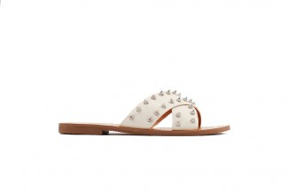 444-14 Beige Studded Leather Sandals