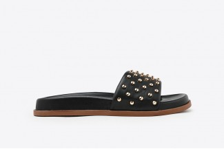 7616-1 Black Gold Studded Wrap Leather Slip Ons