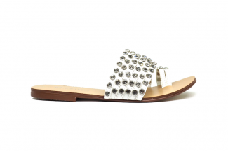 9975-1 White Studded Sandal